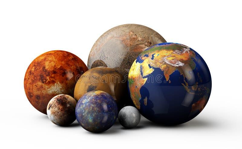 planètes 3D à l'arrière-plan blanc illustration libre de droits