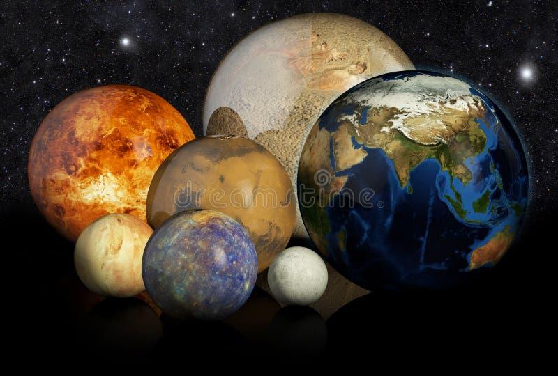 planètes 3D à l'arrière-plan noir illustration stock