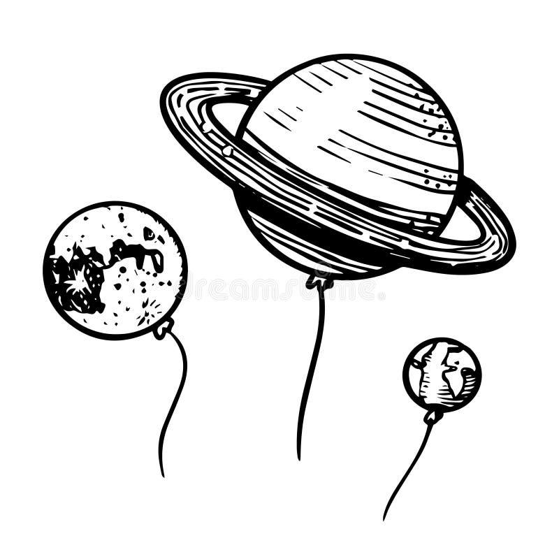 Planètes dans l'espace pour l'emblème ou le logo, astronomie dans le style de cru Ballons tirés par la main dans le rétro style d illustration libre de droits
