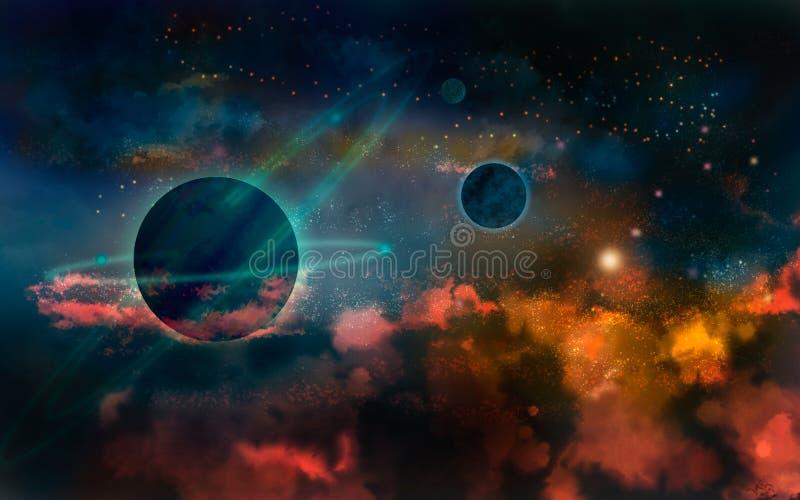 Planètes dans l'univers d'un rouge ardent illustration de vecteur