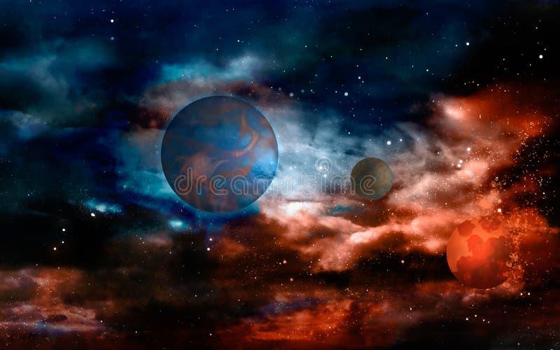 Planètes dans l'univers d'un rouge ardent illustration stock