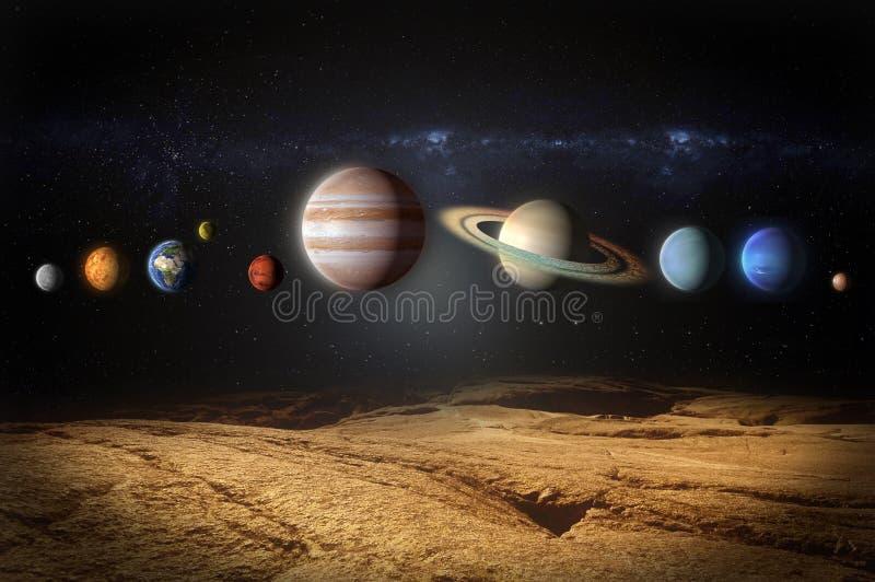 Planètes de la vue de système solaire de la planète rocheuse illustration stock