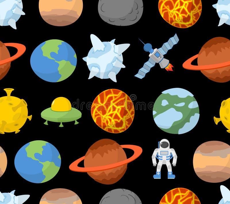 Planètes de modèle sans couture de système solaire illustration stock