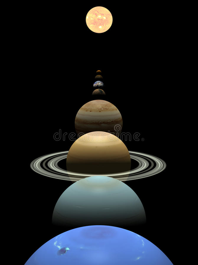 Planètes de système solaire alignées autour du soleil illustration stock