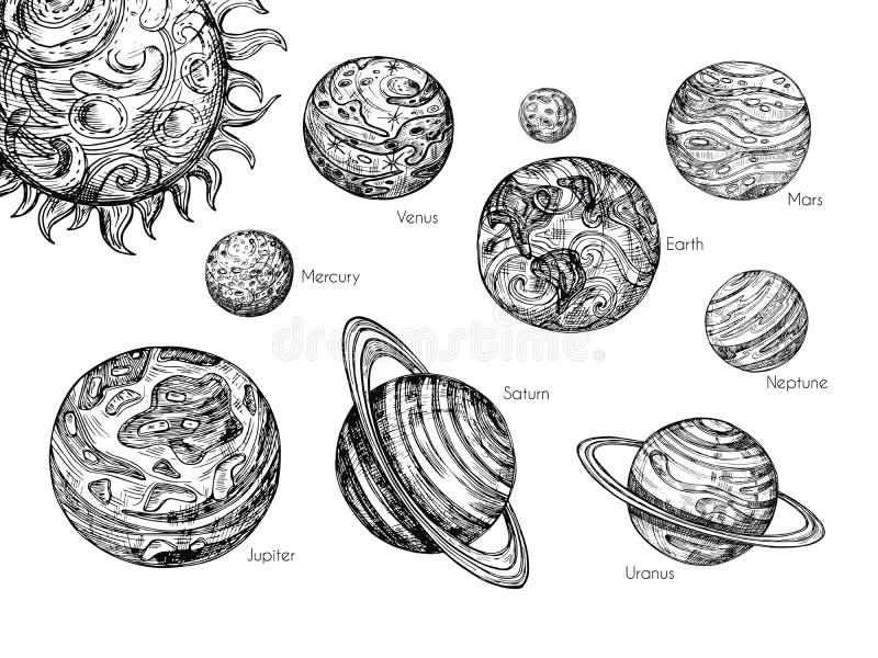 Planètes de système solaire de croquis Mercury, venus, la terre, trouble, Jupiter, Saturne, Uranus et gravure dessinée de neptune illustration stock