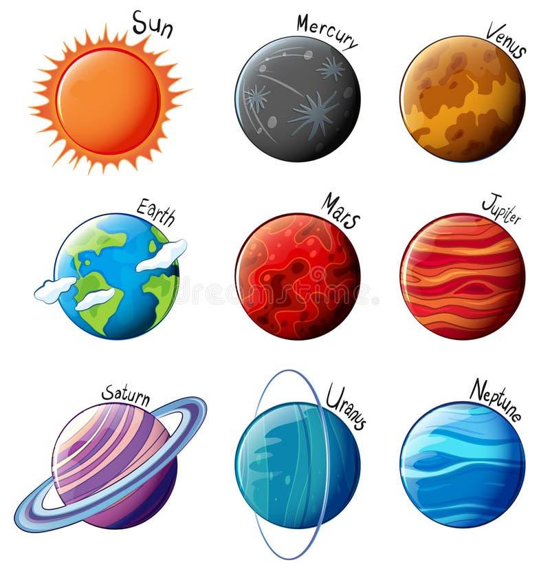 Planètes du système solaire illustration libre de droits
