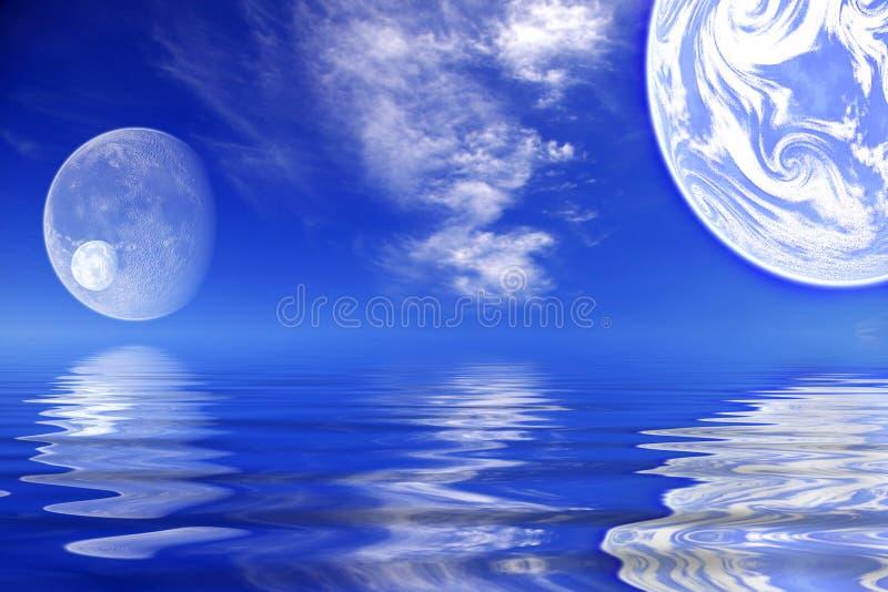 Planètes/eau des mondes illustration de vecteur
