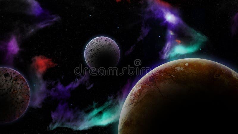 Planètes et nébuleuse photo stock