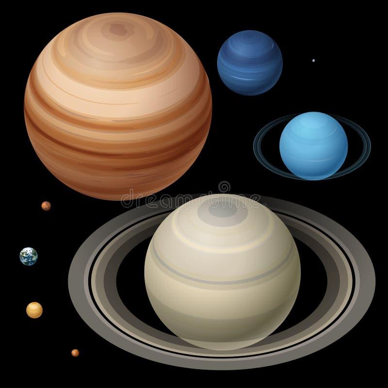 Planètes isométriques de haute qualité isométriques de système solaire Le vecteur coloré de planètes colorées a placé sur le fond illustration stock