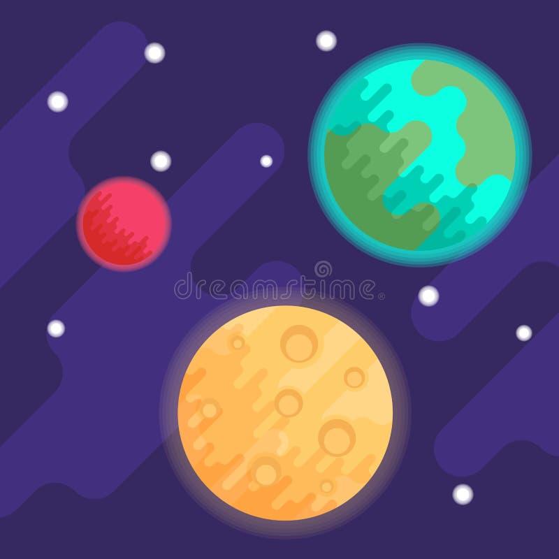 Planètes la terre et Mars, aussi bien que la lune dans la perspective de l'espace et des étoiles Illustration plate de vecteur illustration de vecteur