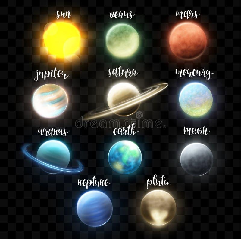 Planètes lumineuses réalistes réglées Effets cosmiques légers Système solaire l'espace illustration libre de droits