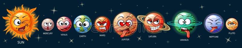 Planètes mignonnes d'emoji du système solaire Sun, Mercury, Vénus, la terre, Mars, Jupiter, Saturn, Uranus, Neptune, Pluton illustration de vecteur