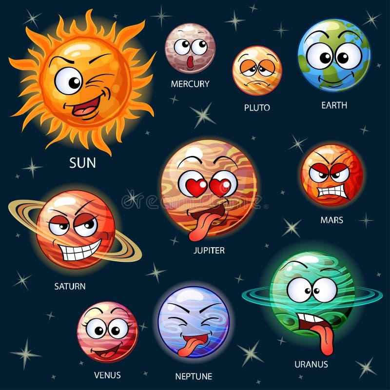 Planètes mignonnes de bande dessinée du système solaire illustration de vecteur