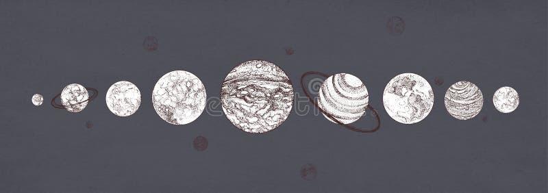 Planètes organisées dans la rangée sur le fond foncé Système planétaire solaire dessiné dans des couleurs monochromes Corps céles illustration de vecteur