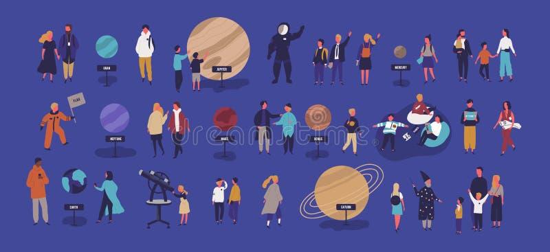 Planétarium de visite de personnes minuscules, regardant les corps célestes ou les objets de l'espace, planètes de système solair illustration stock