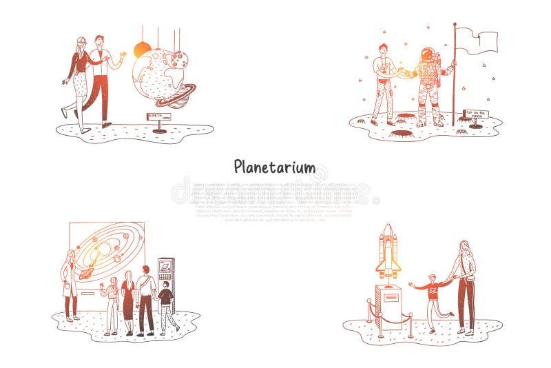 Planétarium - les gens dans le planétarium regardant des expositions et des présentations dirigent l'ensemble de concept illustration de vecteur