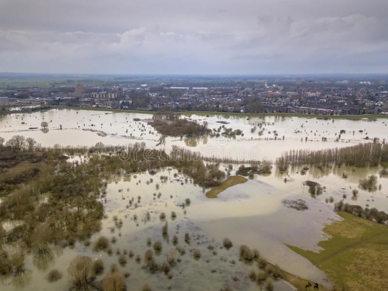 Planícies aluviais inundadas perto da cidade de Wageningen fotografia de stock