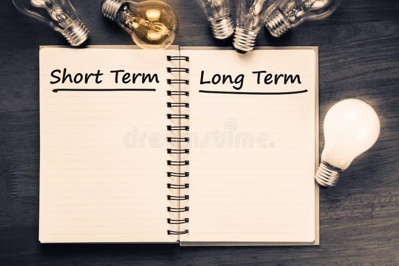 Plan à court et à long terme images stock