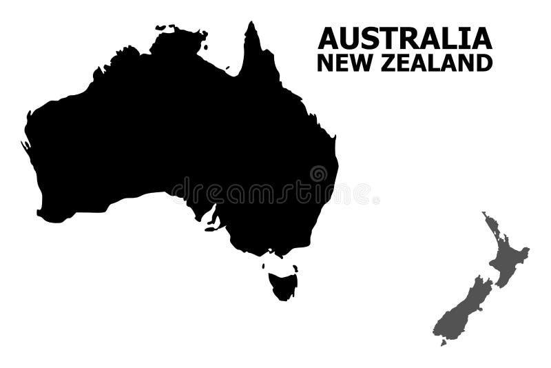 Plan översikt för vektor av Australien och Nya Zeeland med överskrift stock illustrationer