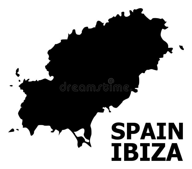 Plan översikt för vektor av den Ibiza ön med namn vektor illustrationer