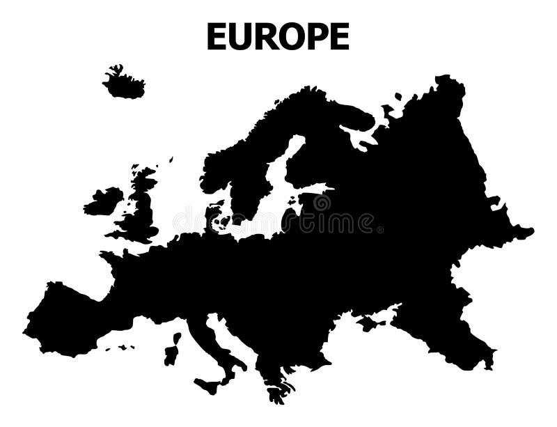 Plan översikt för vektor av Europa med namn stock illustrationer
