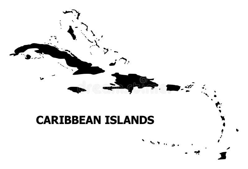 Plan översikt för vektor av karibiska öar med namn royaltyfri illustrationer