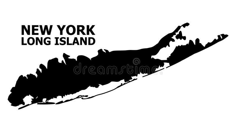 Plan översikt för vektor av Long Island med överskrift royaltyfri bild