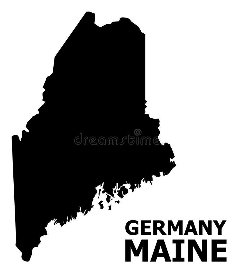 Plan översikt för vektor av Maine State med namn vektor illustrationer
