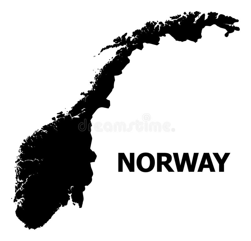 Plan översikt för vektor av Norge med namn stock illustrationer