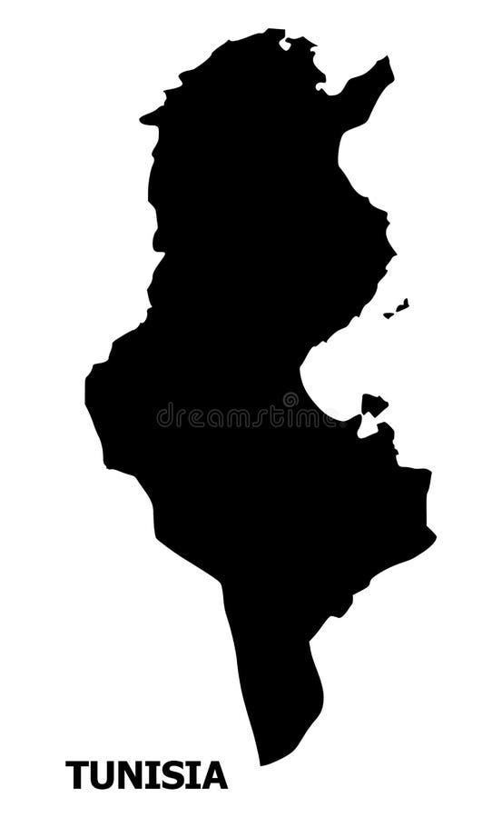Plan översikt för vektor av Tunisien med namn stock illustrationer