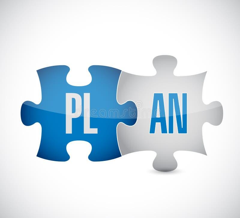 Plan łamigłówka Pokazuje strategie biznesowe ilustracja wektor