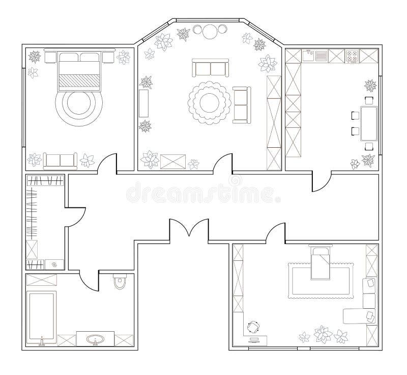 Plan abstracto del vector del apartamento con dos dormitorios libre illustration