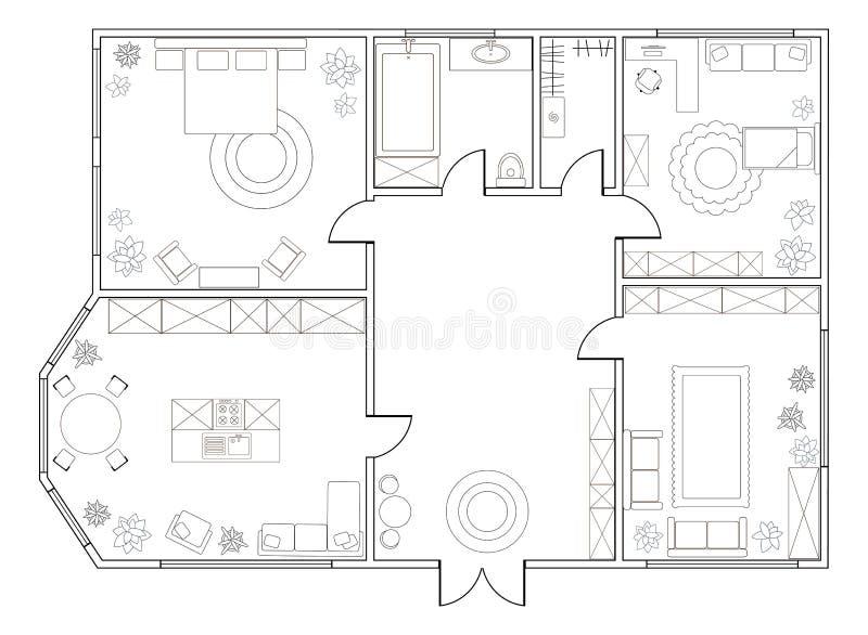 Plan abstracto del vector del apartamento con dos dormitorios stock de ilustración