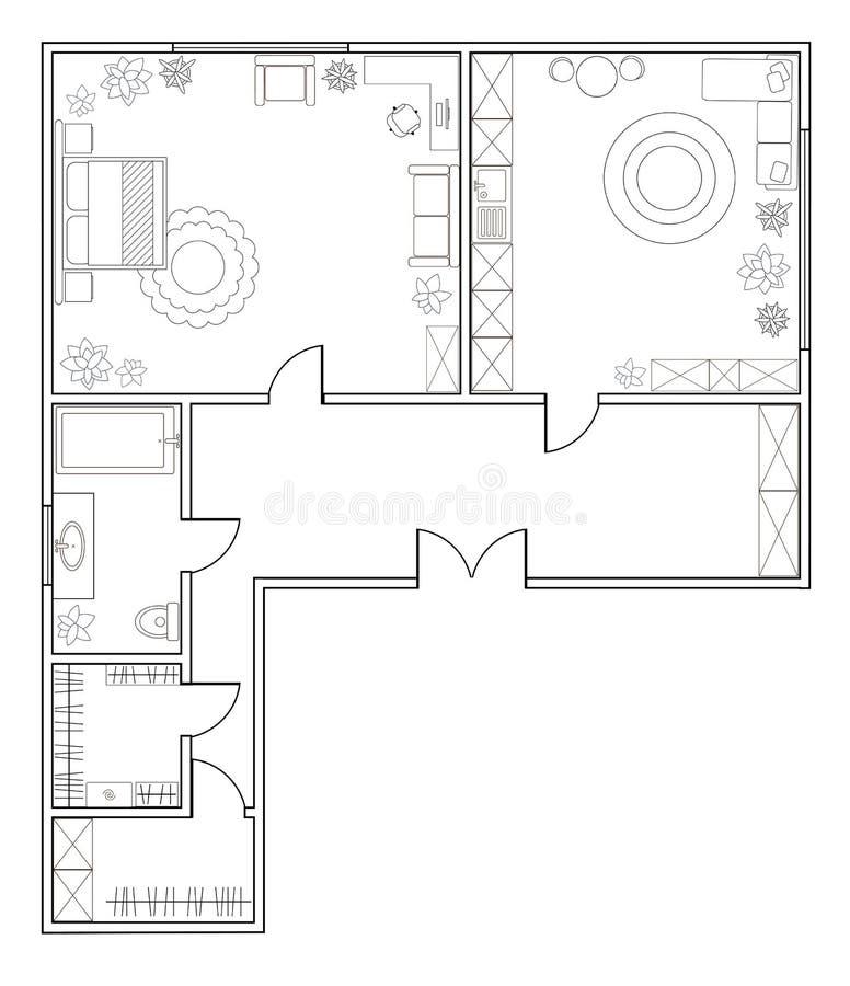 Plan abstracto del vector del apartamento de una habitación ilustración del vector