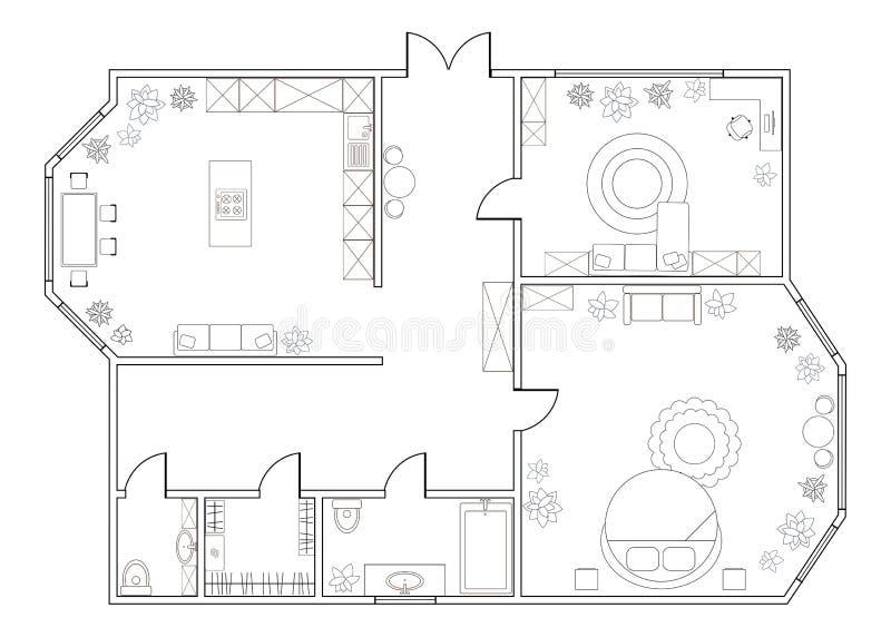 Plan abstracto del vector del apartamento de una habitación libre illustration