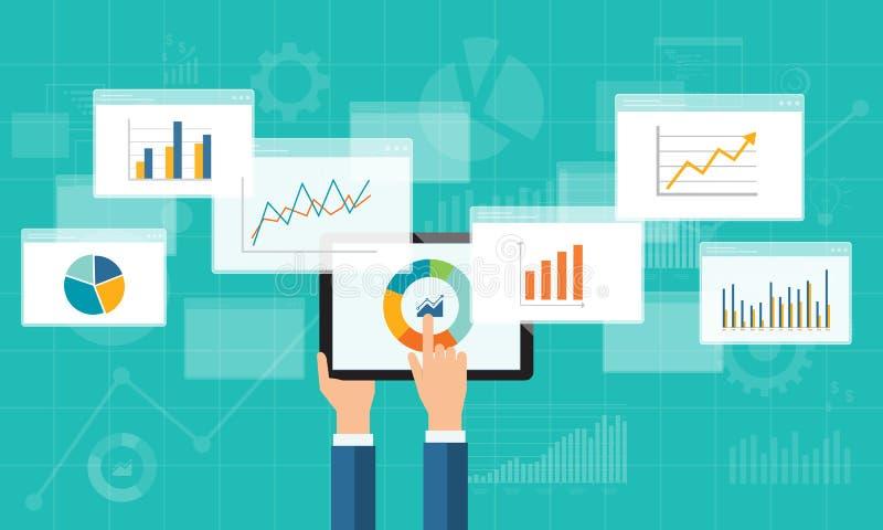 Plan affärsanalyticsgraf på mobila enheten vektor illustrationer