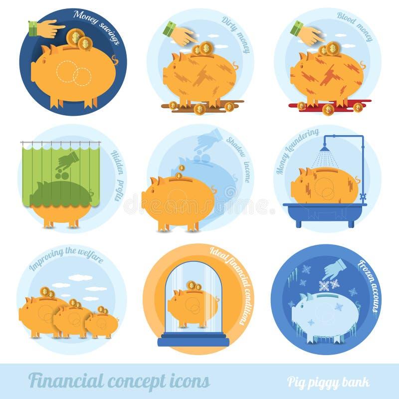 Plan affärsidésymbol för uppsättning med finansiella uttryck för spargriscirkel stock illustrationer