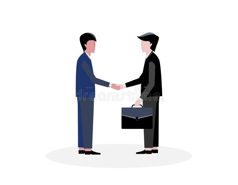 Plan affärsmanskakahand för lyckad affär med partnerskap vektor illustrationer