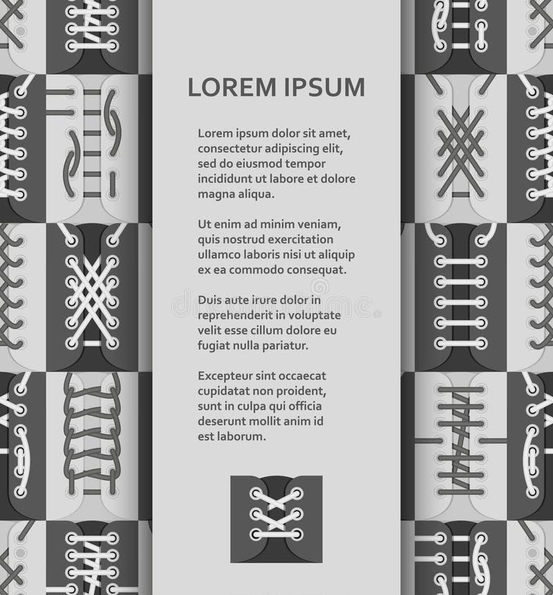 Plan affisch- eller banermall med skon som snör åt intriger royaltyfri illustrationer