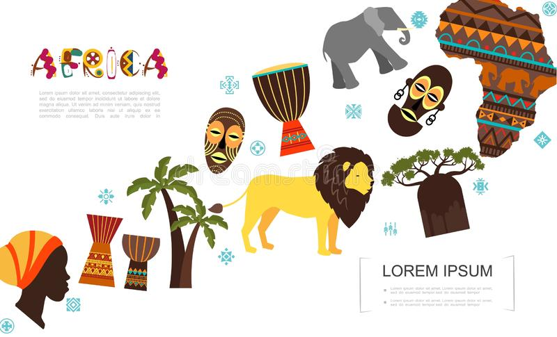 Plan afrikansk traditionell best?ndsdelmall stock illustrationer