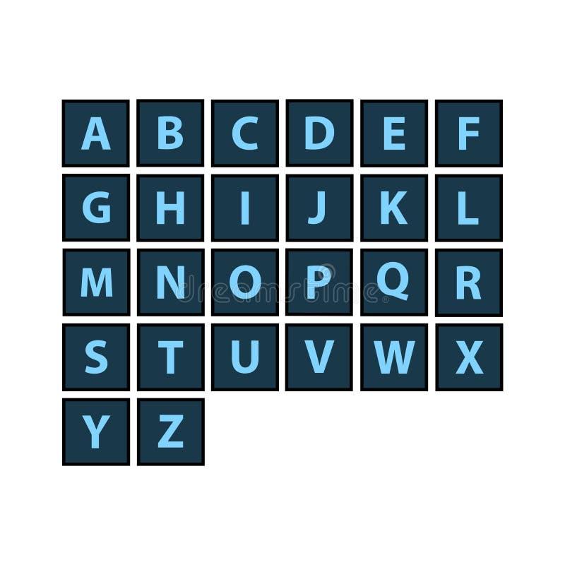 Plan alfabettegelplattauppsättning Tema för mörk färg Varje bokstav vektor illustrationer