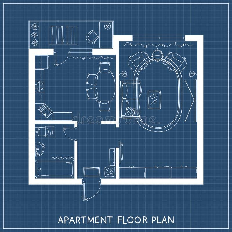 Plan architectural avec des meubles dans la vue supérieure illustration libre de droits