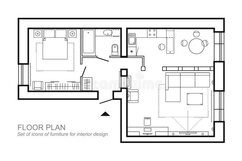 Plan architectural d'une maison Disposition de la vue supérieure d'appartement illustration de vecteur
