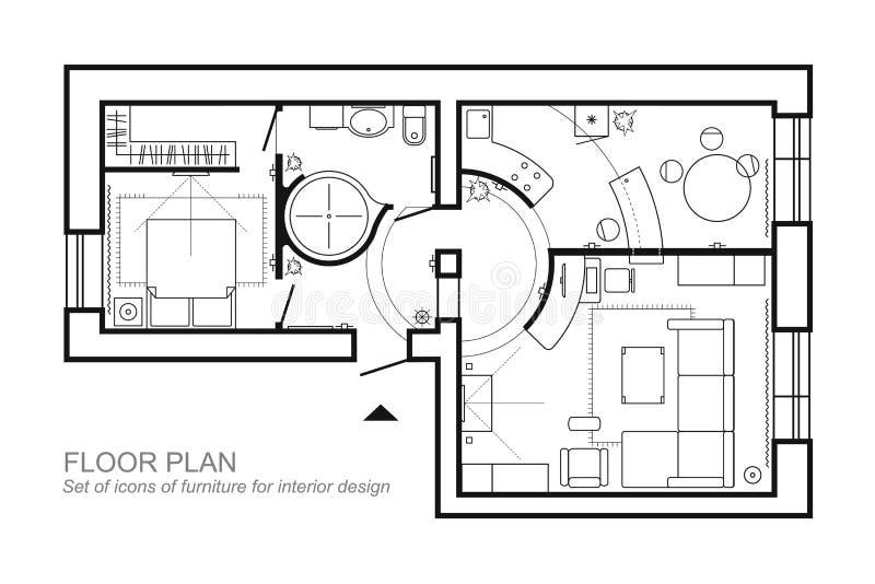 Plan architectural d 39 une maison disposition de la vue for Disposition des meubles dans une chambre