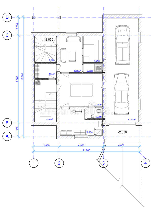 Plan architectural de 0 étages de maison illustration stock