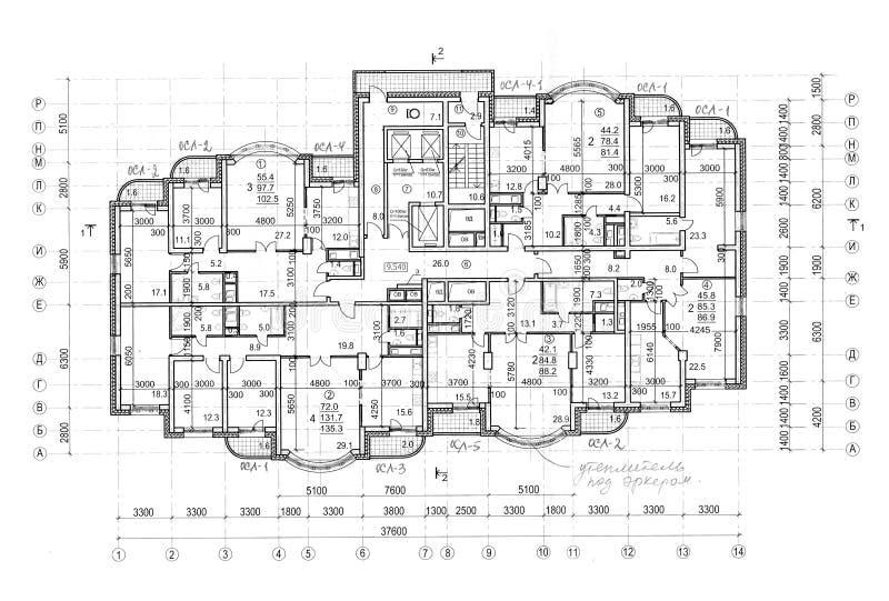Plan architectural de construction d'étage illustration de vecteur