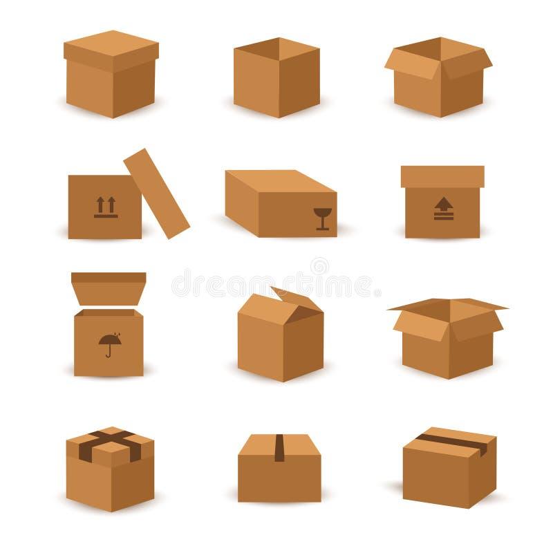 Plan ask- och emballagevektorsymbol stock illustrationer
