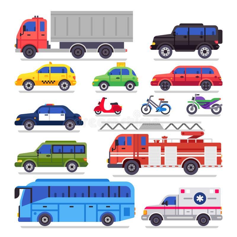 Plan automatisktransport Bil, cykel och motorcykel för stadsväg Ambulansbilen, brandmotorn och stadbiltransportbussen isolerade stock illustrationer