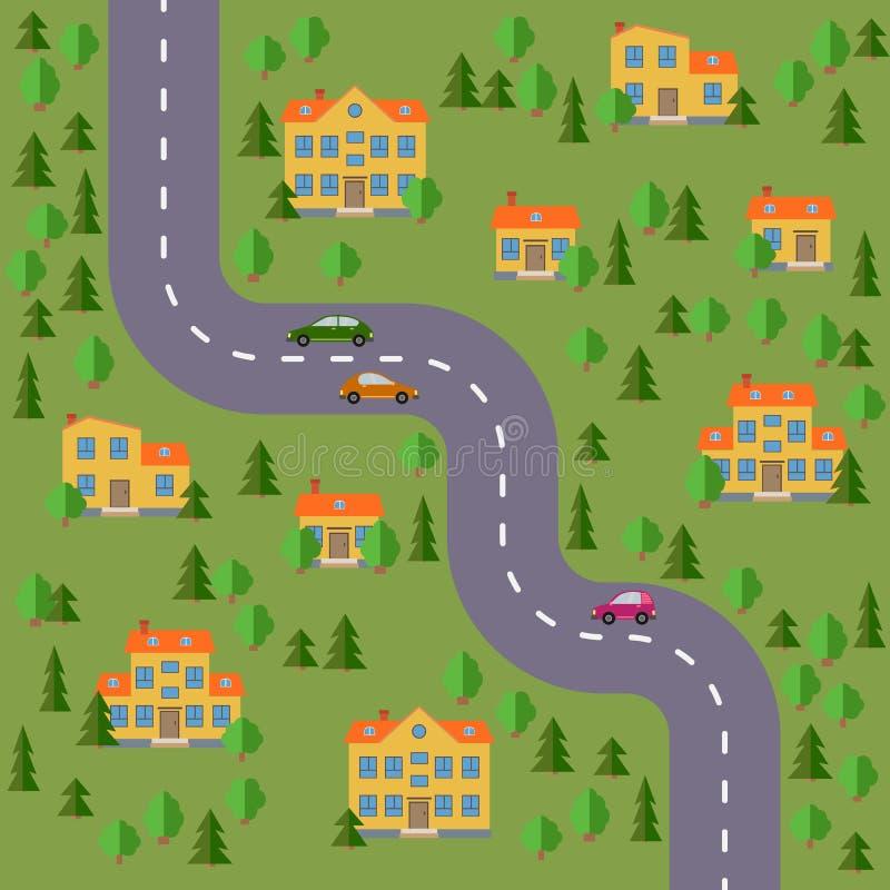 Plan av byn Landskap med vägen, skogen, bilarna och husen vektor illustrationer