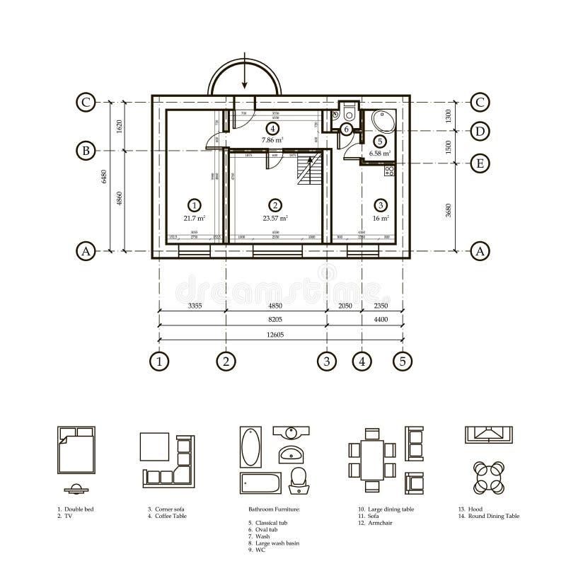 Plan av lägenheten vektor illustrationer